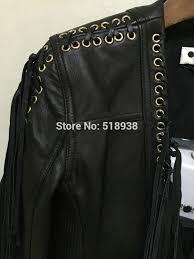2016 new arrival autumn winter women black leather jacket streetwear y rock punk tassel fringe zipper