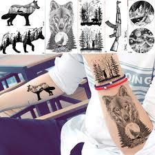 Yuran мужской модный черный тату наклейки маленький пик волк