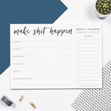 make happen weekly desk planner pad