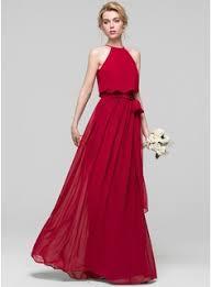 a line princess scoop neck floor length chiffon bridesmaid dress