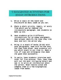 Writing Introductions 5 Activities For Essay Introductions Writing Lessons