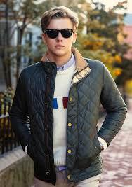 Men's Navy Quilted Bomber Jacket, White Print Crew-neck Sweater ... & Men's Navy Quilted Bomber Jacket, White Print Crew-neck Sweater, Light Blue  Long Sleeve Shirt, Khaki Chinos Adamdwight.com
