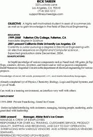 Resume Template Internship Resume Samples For Computer Science