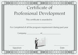 Certification Template Professional Development Certificate Of Completion Template