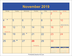 November Through November Calendars November 2019 Calendar Printable With Holidays Pdf And Jpg