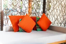 comfortable pillows on outdoor patio