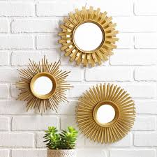 3 piece sunburst wall mirror set multiple finishes gold