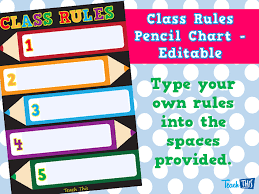 Preschool Class Rules Chart Class Rules Pencil Chart Editable Teacher Resources And
