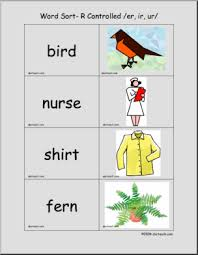 Phonics printable worksheets and activities (word families). R Controlled Er Ir Ur Words Word Sort Center I Abcteach Com Abcteach