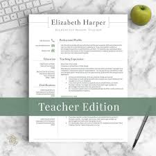 Toddler Teacher Resume Custom Teacher Resume Template For Word Pages Teacher CV Etsy