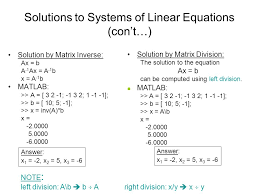 solutions to systems of linear equations con t