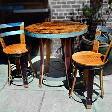 wine barrel bistro table with two chairs napa general inside wine barrel furniture 15621