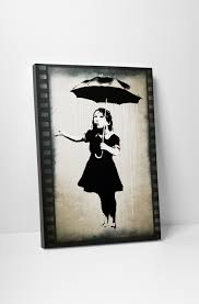 on girl with umbrella wall art with banksy nola umbrella girl canvas wall art
