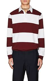 acne studios nichols striped cotton polo shirt burdy white for men