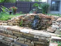 water garden stone wall