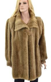 1 650 light brown whiskey beaver fur coat jacket size xl
