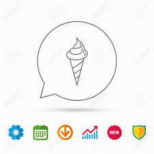 Ice Cream Icon Sweet Dessert In Waffle Cone Sign Frozen Food