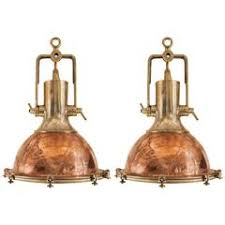 pair of large copper and brass ship deck lights antique pendant lighting