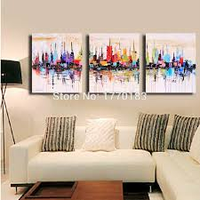citys coloring oil painting hand painted abstract wall canvas art 3 piece modern decorative pictures on