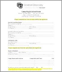 Emergency Contact Forms For Children New Registration Forms Template Word Form Child Nppa Co