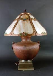 arts crafts hammered copper lamp c