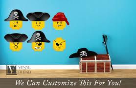 Pirate Bedroom Decor Brick Builder Minifig Pirate Faces Wall Decor Vinyl Decal Digital