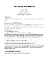 Retail Sales Resume Store Manager In Construction Company Example