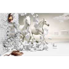 Running Wit Paard Wallpaper 3d Commerciële Vinyl Behang Voor