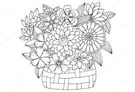 木製バスケットの花とブーケベクトル落書き花画像 ストックベクター