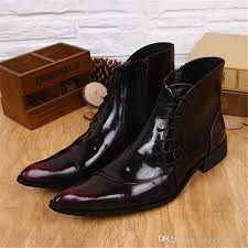 wine red side zipper men ankle boots genuine leather lace up shoes dress booties mens pointed toe cowboy military boots monkey boots football boots