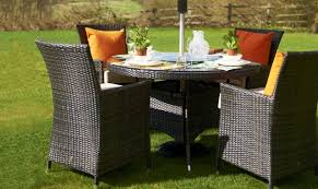 margarita 120cm round table 4 chairs brown rattan garden set