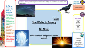 gcse wjec eduqas english literature poetry she walks in beauty she walks in beauty pptx