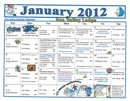 January 2012 Assisted Living Activity Calendar | Welcome To Sun ...