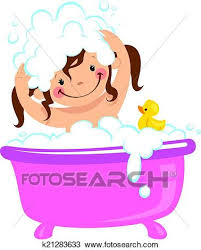 a baby girl having bath in a bathtub with lot of soap lather and a rubber duck
