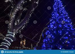 How To Decorate A Tree Trunk With Christmas Lights Festive Decorated Christmas Tree With Blue Led Lights Stock