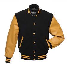 black wool gold leather varsity jackets