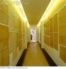 indirect lighting ceiling. lighting a long corridor illuminated by indirect concealed in false ceiling