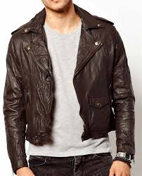 men dark brown leather jacket real leather biker jacket men short length jacket
