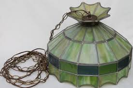 vintage leaded glass shade light fixture green stained glass pendant hanging lamp