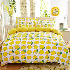 new lemon bedding set polyester bed sheets duvet cover flat bedspread sets home textile kids bedroom