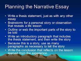 the middle school narrative essay it differs from a simple story  planning the narrative essay 8 start a thesis statement