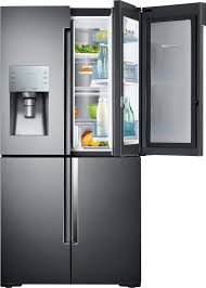 samsung 27 8 cu ft 4 door flex french door refrigerator with food showcase and thru the door ice and water fingerprint resistant black stainless steel