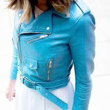 zara blue faux leather cropped moto jacket