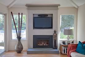 wall mount gas fireplace living room contemporary with built in wall unit image by ler construction
