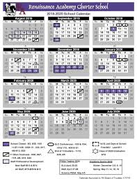 Printable School Year Calendars Printable 2019 2020 School Calendar Renaissance Academy