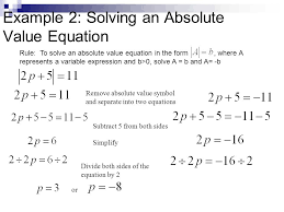 solving an absolute value equation subtract 5 from both sides to isolate the 4 example