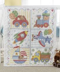 Dimensions Stamped Cross Stitch Kit, Baby Drawers Quilt | Cross ... & Transportation Crib Cover Stamped Cross-Stitch Kit by Bucilla Adamdwight.com