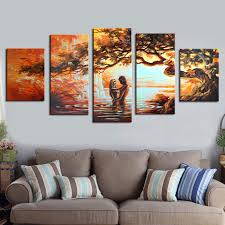 hand painted wall art lovers home decoration abstract landscape oil painting on canvas 5 pieces no frame dining room decoration in painting calligraphy  on wall art lovers with hand painted wall art lovers home decoration abstract landscape oil