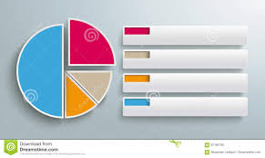 Colored Piechart 4 Pieces Tabs Stock Vector Illustration