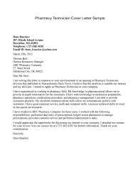 Free Printable Cover Letter Sample For Pharmacy Technician Job